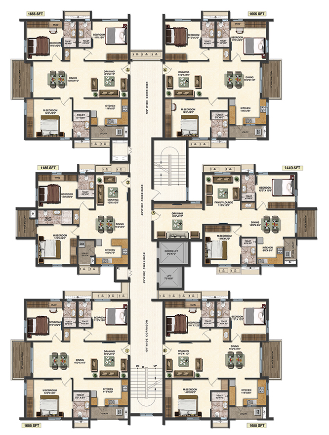 New flats for sale in hyderabad accurate 39 s layout plans for Typical house layout